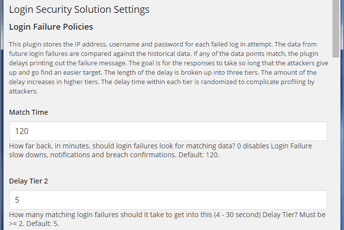 WordPress Login Security Solution Settings Page