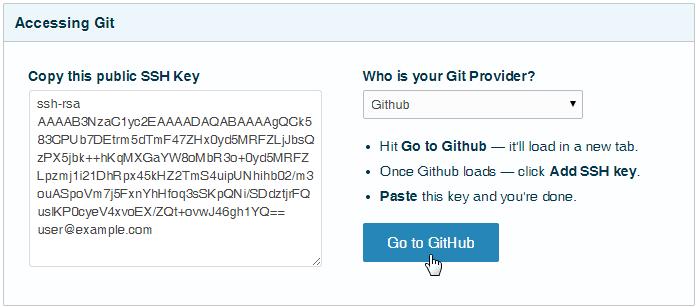 Cloud 66 dashboard copy github ssh key