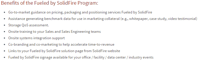 SolidFire's Fueled by SolidFire program benefits