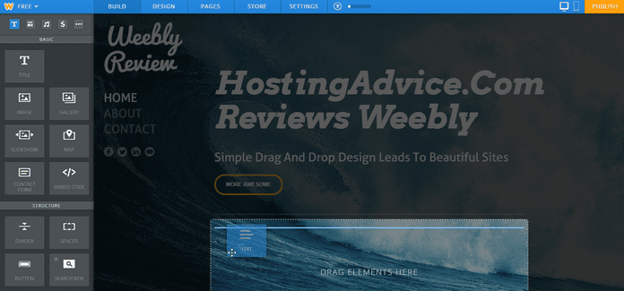 Weebly Drag-and-Drop Editor Adding Text Element