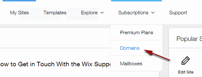 Screenshot of Subscriptions tab in Wix dashboard
