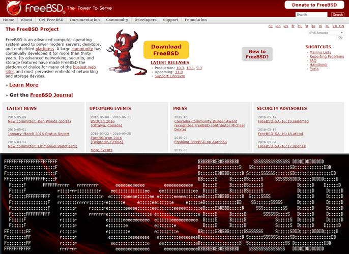 Screenshot of FreeBSD.org