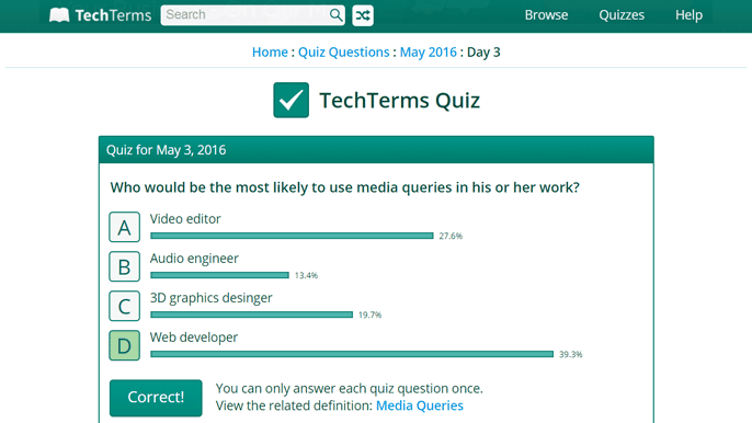 Media Queries Quiz from TechTerms.com