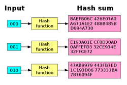 Graphic showing inputs, hash functions, and hash sums