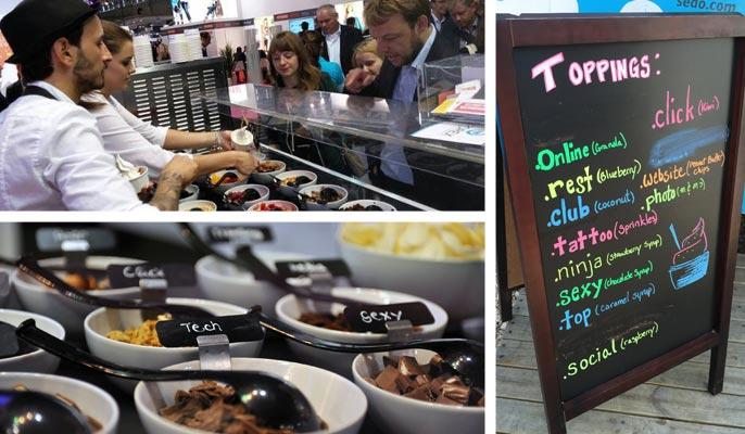 Collage of Sedo's frozen yogurt booth