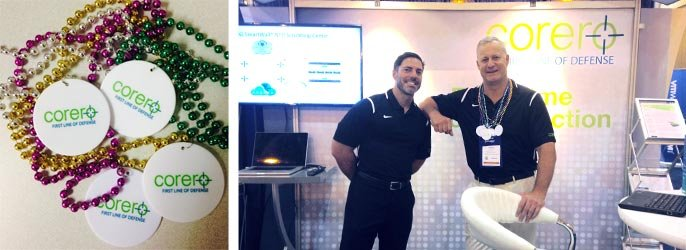 Collage of Mardi Gras beads with the Corero logo and employees at the booth