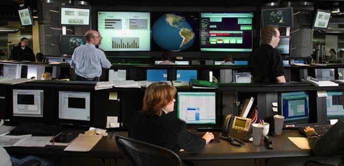 Monitors at Symantec's Security Operations Center