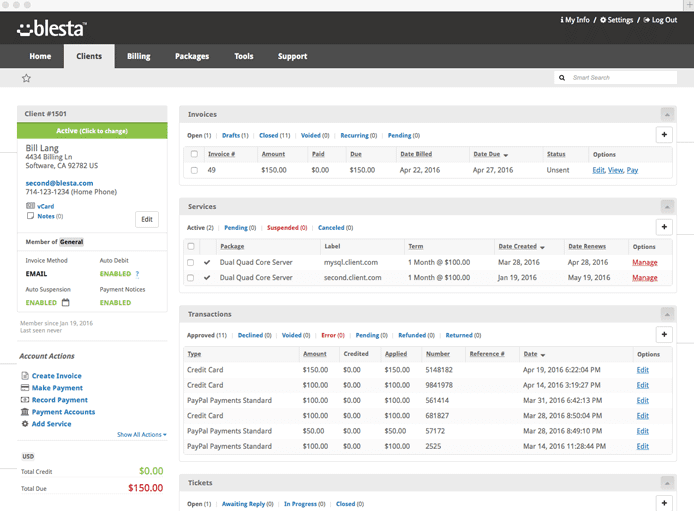 Screenshot of Blesta dashboard