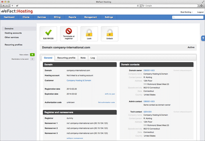 Screenshot of WeFact Hosting dashboard