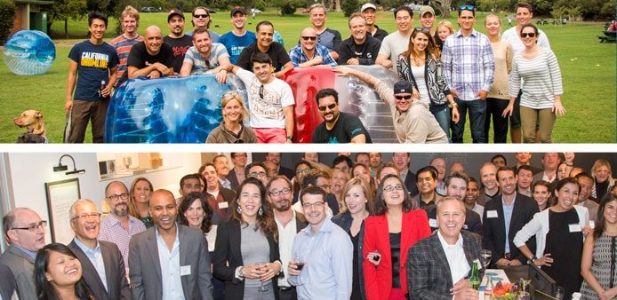 Group photos of employees from Get Satisfaction and Sprinklr