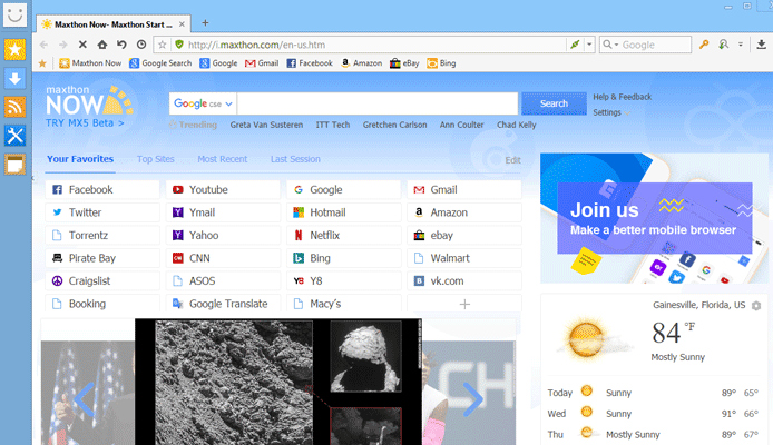 Screenshot of Maxthon Browser Home