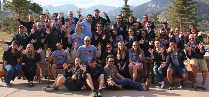 Group photo of Olark employees