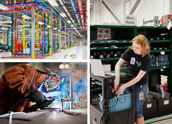 Collage of Google datacenters and employees working on them