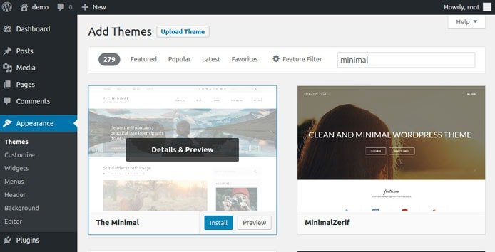 Screenshot of WordPress theme preview and install function