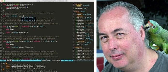 Screenshot of Vim and picture of Bram Moolenaar