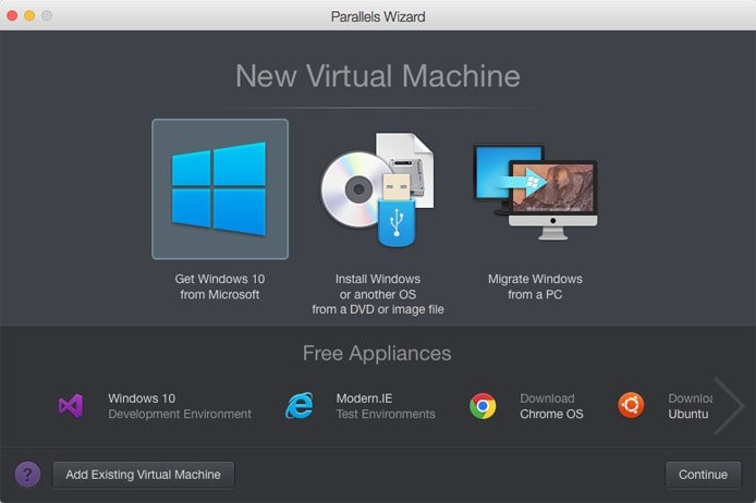 Screenshot of Parallels new virtual machine wizard