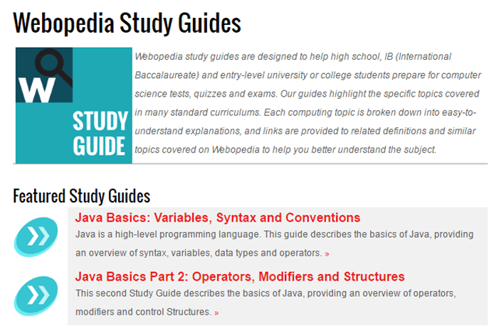 Screenshot of Webopedia study guide page