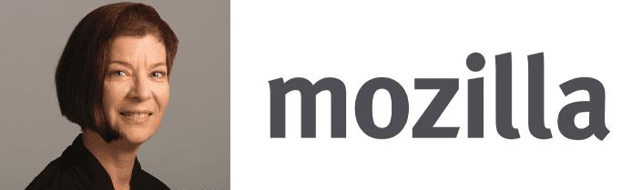Mitchell Baker's headshot and Mozilla logo