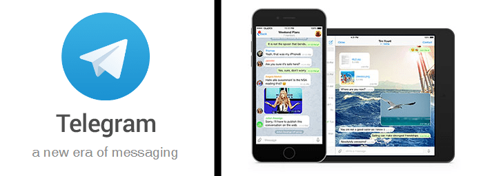 Telegram logo and screenshot of the mobile platform