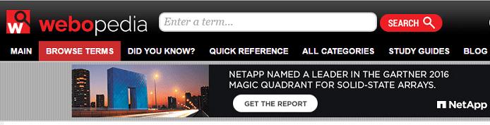 Screenshot of Webopedia homepage