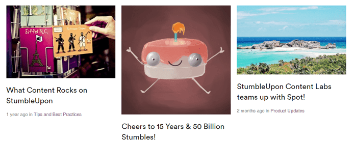 Screenshot of the StumbleUpon blog