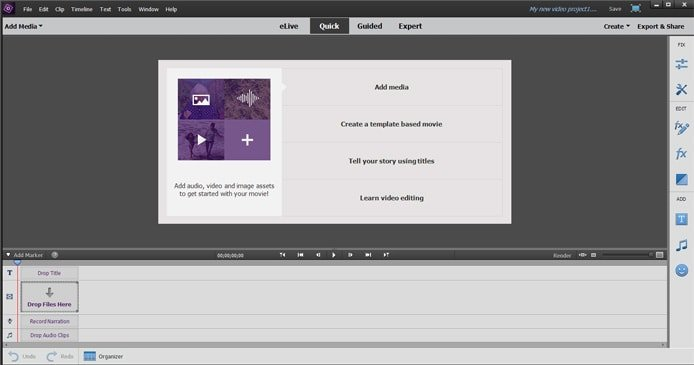 Screenshot of Adobe Premiere Elements