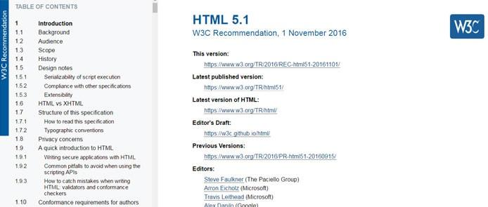 Screenshot of HTML 5.1 standard