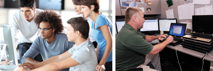 Collage of people working toward CompTIA certifications