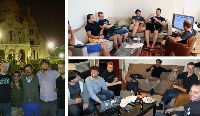 Collage of Piwik developers meeting informally