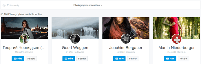 Screenshot of 500px directory feature on a profile page