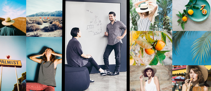 Photo collage of Squarespace templates and members of the Squarespace team