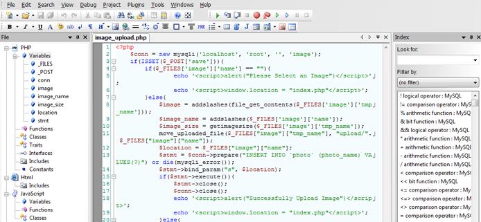 Screenshot of CodeLobster IDE interface