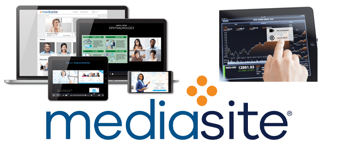 Collage of devices employing Mediasite software and Mediasite logo