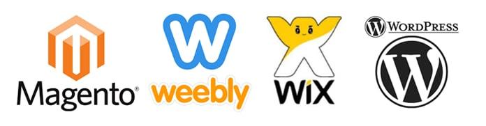 Logos of top eCommerce website builders