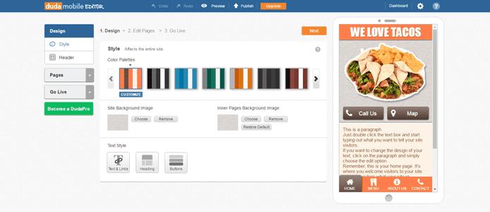 Screenshot of Duda mobile builder
