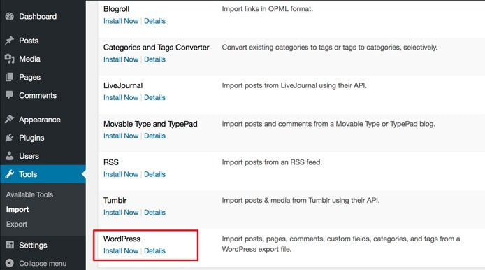 Screenshot showing how to import WP.com content