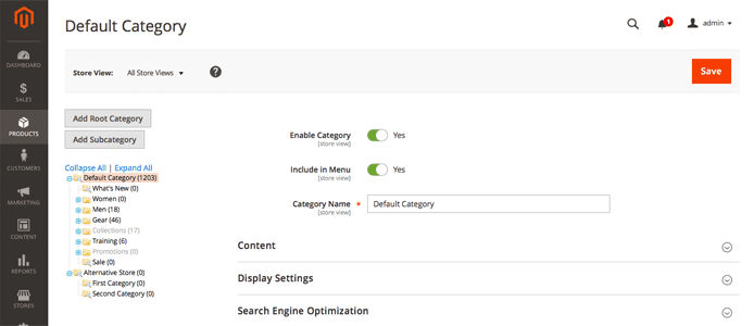 Screenshot of Magento interface