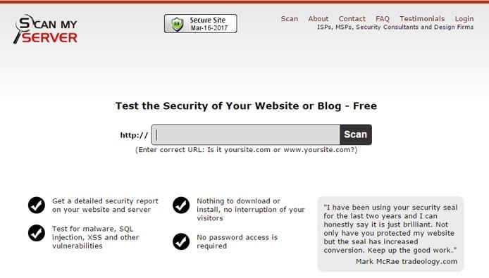 Screenshot of ScanMyServer