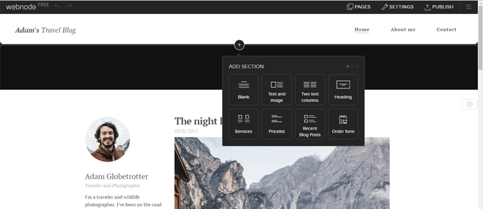Screenshot of Webnode site builder