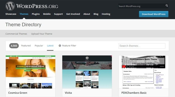 Screenshot of WordPress theme directory