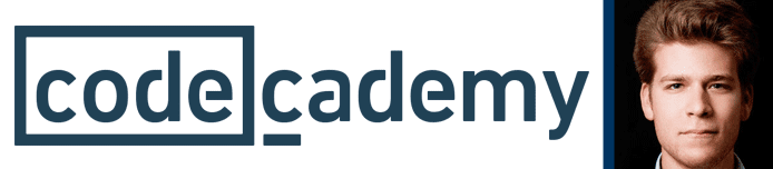 Codecademy logo with portrait of CEO, Zach Sims