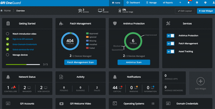 Screenshot of GFI OneGuard's UI