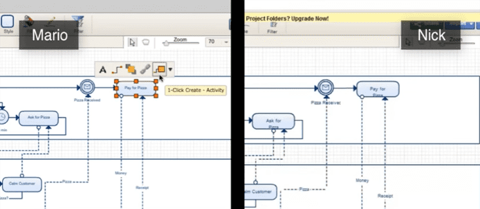 Screenshot of collaboration on a Creately diagram