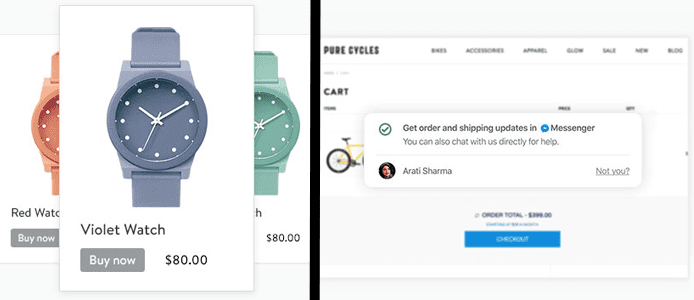 Screenshots of Shopify Lite Buy Now buttons on watches and Facebook Messenger conversation