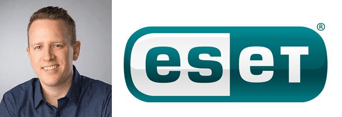 Collage of Cameron Tousley's headshot and ESET logo