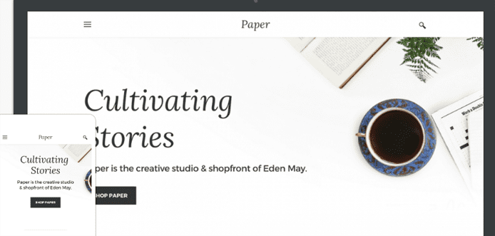 Screenshot of Weebly's Paper theme