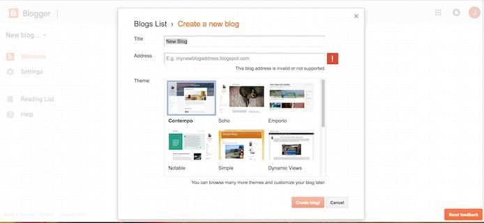 Blogger screenshot