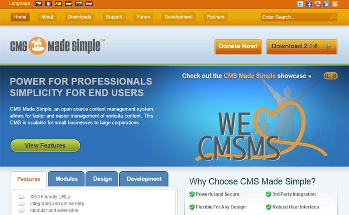 Screenshot of CMSmadesimple.org