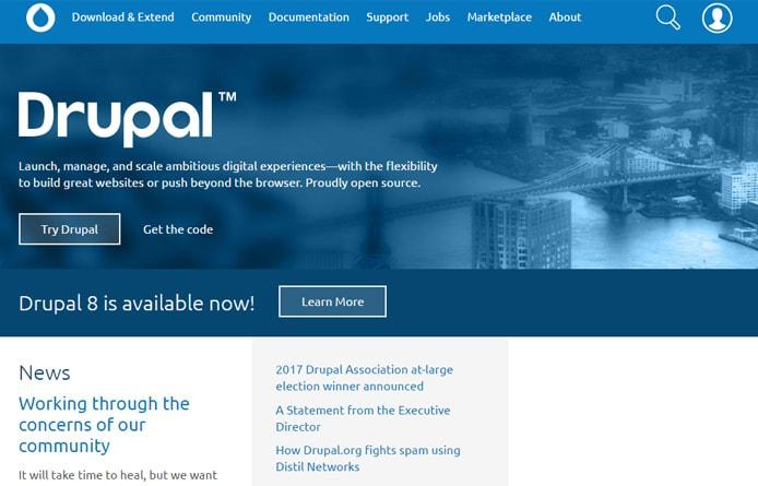 Screenshot of Drupal.org