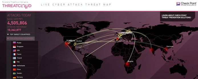 Screenshot of ThreatCloud map of attacks